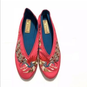 Llani x Anthropologie Embroidered Slipper Flats